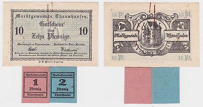 1,2 & 10 Pfennig Banknoten Notgeld Marktgemeinde Thannhausen um 1920 (123582)
