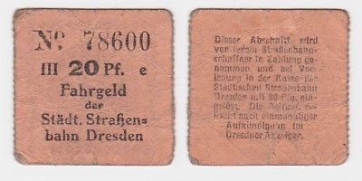 20 Pfennig Fahrgeld der städtischen Strassenbahn Dresden um 1920 (123677)