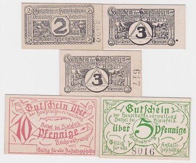 5 Banknoten Hauptkassenverwaltung Bethel bei Bielefeld um 1920 (123750)