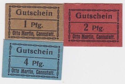 1,2 & 4 Pfennig Banknoten Cannstatt Otto Martin um 1920 (123550)