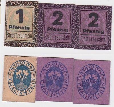 1 und 2 x 2 Pfennig Banknoten Stadt Traunstein um 1920 (123551)