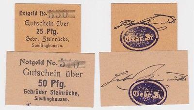 2 Banknoten Notgeld Siedlinghausen Gebr.Steinrücke um 1920 (123572)