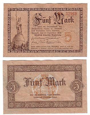 5 Mark Banknote Fürstlich Lippische Regierung Detmold 1918 (112805)
