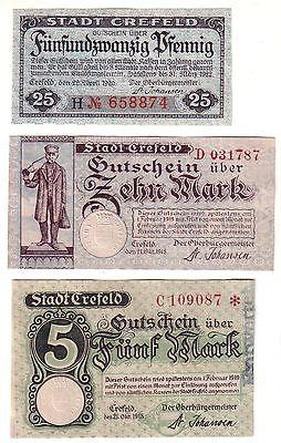 3 Banknoten Notgeld Stadt Crefeld 1918 - 1920 (112318)