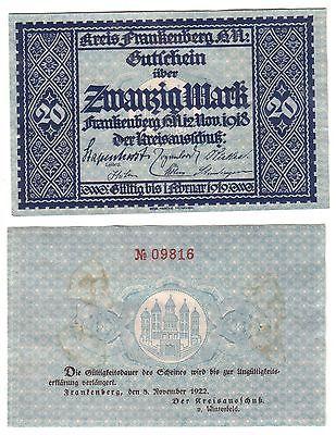 20 Mark Banknote Kreis Frankenberg Hessen Nassau 12.11.1918 (110213)