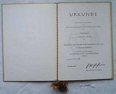 DDR Urkunde Medaille für 20 Jahre treue Dienste NVA 1979 (113871) 0