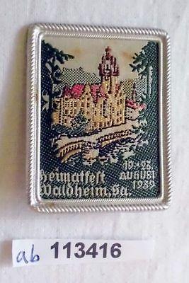 Seltenes besticktes Blech Abzeichen Heimatfest Waldheim 1939 (113416)