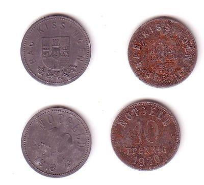 2 x 10 Pfennig Notgeld Eisen & Zink Münzen Stadt Bad Kissingen 1918/19 (112515)
