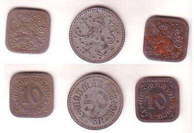 2 x 10 & 50 Pfennig Notgeld Eisen/Zink Münzen Stadt Weimar 1918 (112474)