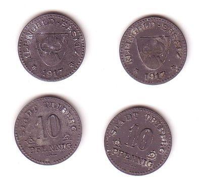2 x 10 Pfennig Notgeld Eisen Münzen Stadt Triberg 1917 (113021)