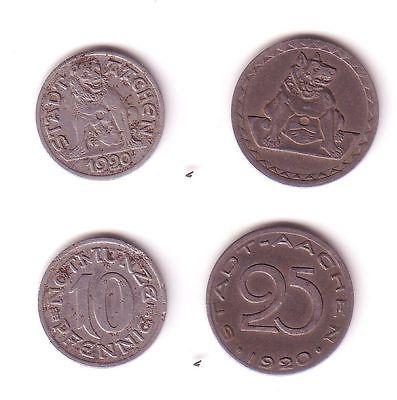 10 und 25 Pfennig Notgeld Eisen Münzen Stadt Aachen 1920 (112507)