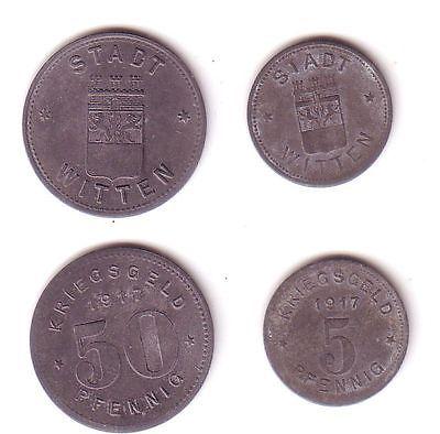 5 und 50 Pfennig Notgeld Zink Münzen Sadt Witten 1917 (112356)