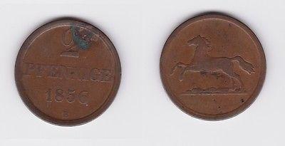 2 Pfennig Kupfer Münze Braunschweig 1856 B (118874)
