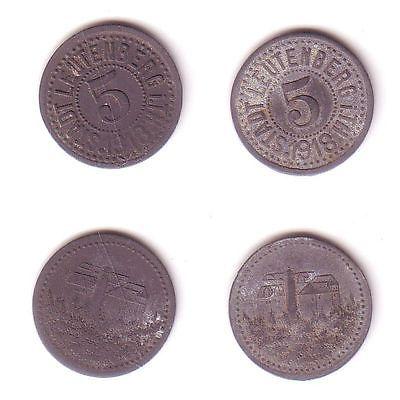 2 x 5 Pfennig Notgeld Zink Münzen Stadt Leutenberg 1918 (112503)