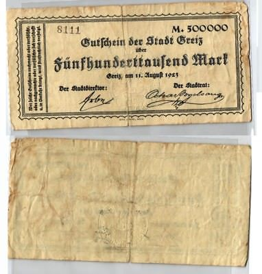 500000 Mark Banknote Inflation Stadt Greiz 11.08.1923 (123646)