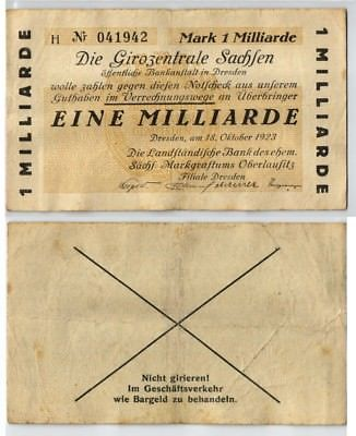 1 Milliarde Mark Banknote Girozentrale Sachsen Dresden 18.10.1923 (123529)