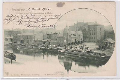 88780 Ak Bromberg Fischmarkt mit Realgymnasium am Hafen 1900