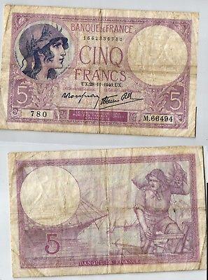 5 Francs Banknote Frankreich 28.11.1940 (123950)