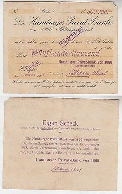 500000 Mark Banknote Hamburger Privat Bank 1923 (116191)