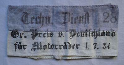 Rarität Armbinde Technischer Dienst Großer Preis von Deutschland 1934 (107664)