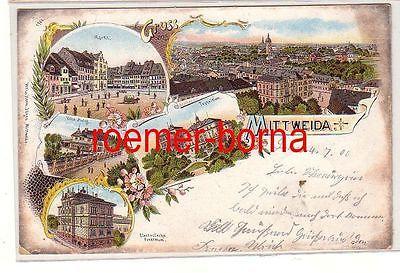 28399 Ak Lithographie Gruss aus Mittweida Villa Holzt, Technikum usw. 1900