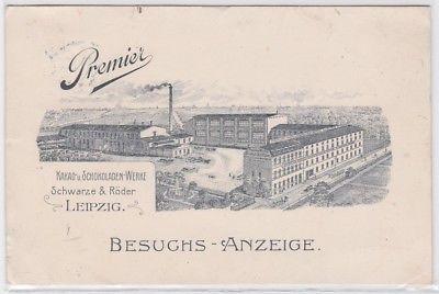 87611 Ak Leipzig Besuchs-Anzeige Kakao- u. Schokoladen-Werke Schwarze&Röder 1909