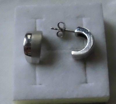 Bezaubernde 925er Silber Ohrringe Verzierung gebürstete Optik (116807)