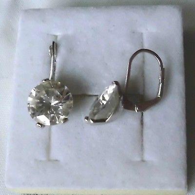 Glamouröse 925er Silber Ohrringe mit riesigem Stein schöner Schliff (118411)