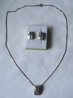 Traumhafte Kette + Anhänger aus 925er Silber, dazu passende Ohrringe (102144)