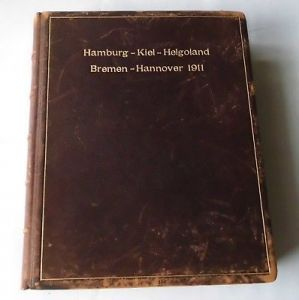 Original Leder Album Hamburg Kiel Helgoland Bremen Hannover 1911 (116368)