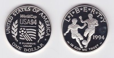 1 Dollar Silber Münze Usa Fussball Wm Usa 1994 123241 Nr