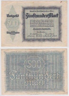 500 Mark Banknote Inflation Stadt Rügenwalde an der Ostsee 1.12.1923 (123362)