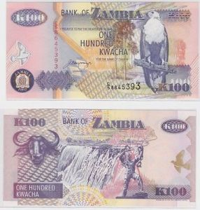 100 Kwacha Banknote Zambia Sambia 1992 kassenfrisch (123435)