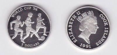 5 Dollar Silbermünze Cook Inseln 1991 Fussball WM USA 1994 (123218)
