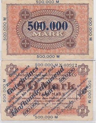 500000 Mark Banknote Inflation Leverkusen Bayer Farbenfabriken 1923 (123380)