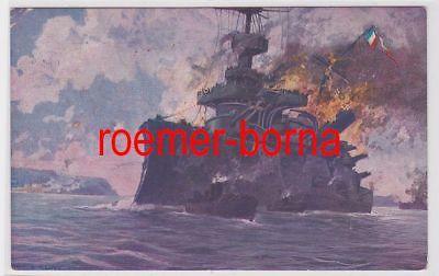 80823 Ak Dardanellen Türk. Batterien versenken das franz. Panzerschiff