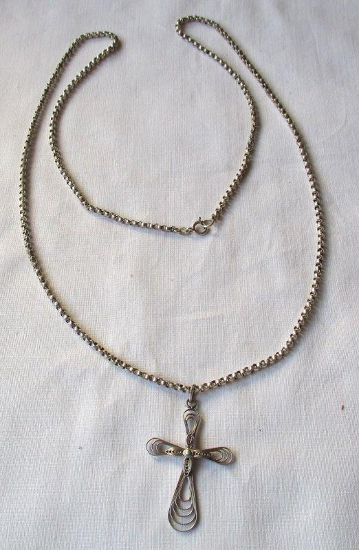 Lange charmante 925er Sterling Silber Kette mit hübschem Kreuz Anhänger (123499)