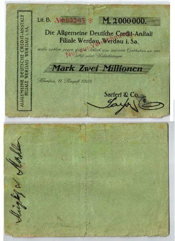 2 Millionen Mark Banknote Inflation ADCA Werdau 11.08.1923 (123498)