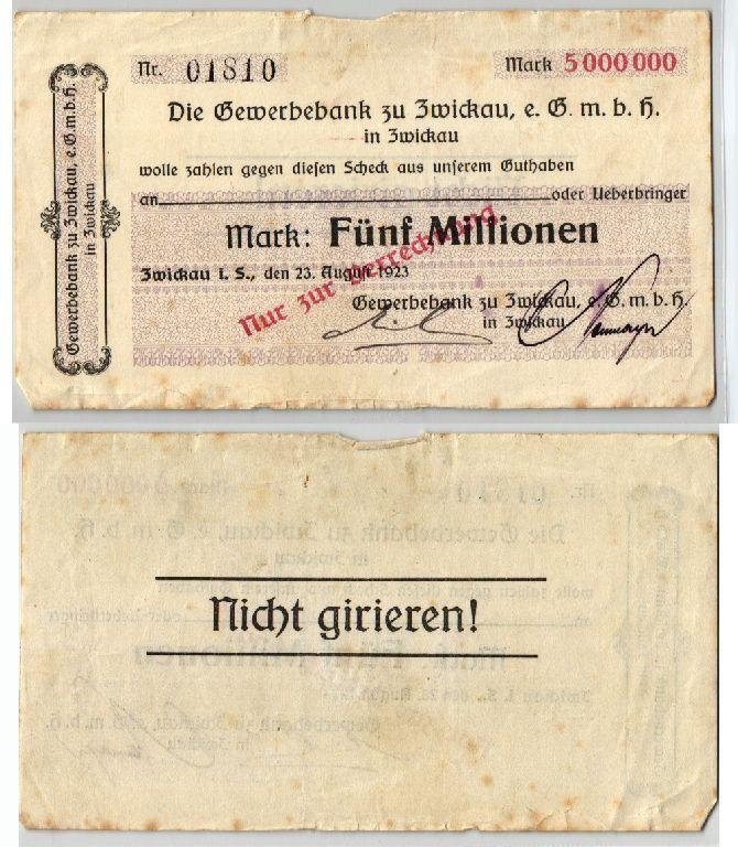 5 Millionen Mark Banknote Inflation Gewerbebank zu Zwickau 23.08.1923 (123600)