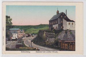 88407 AK Schneeberg - Bahnhof mit weißer Hirsch, leuchtende Fenster - Feldpost