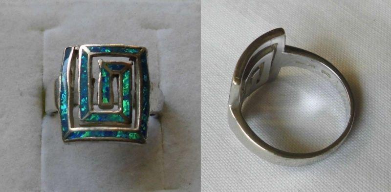 Kreativer 925er Sterling Silber Ring Schmuckring türkis Schimmer Stein (104947) 0