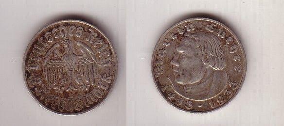 2 Mark Silber Münze 3reich Martin Luther 1933 A 112897 Nr