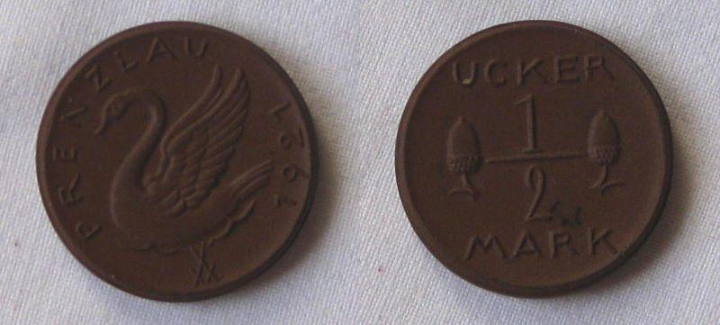 Seltene 1/2 Ucker Mark Porzellan Medaille Prenzlau 1921 (123464)