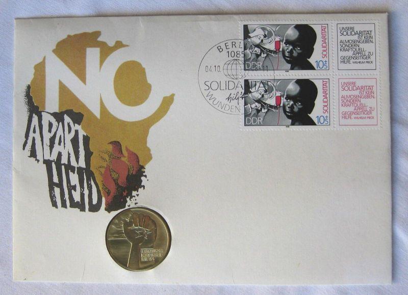 DDR Numisbrief NO APARTHEID 1978 + 5 Mark Münze Int. Anti Apartheidjahr (120793)