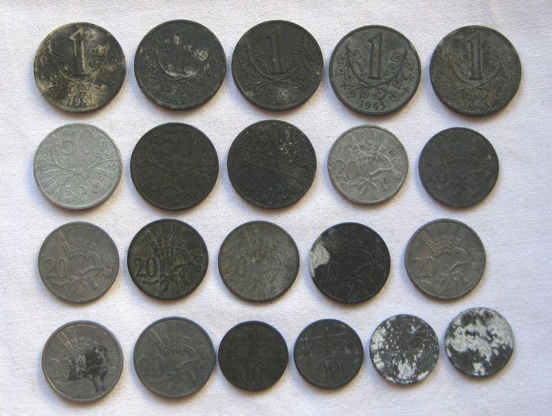 21 Zink Notmünzen Böhmen und Mähren 1940-1944 (122384)