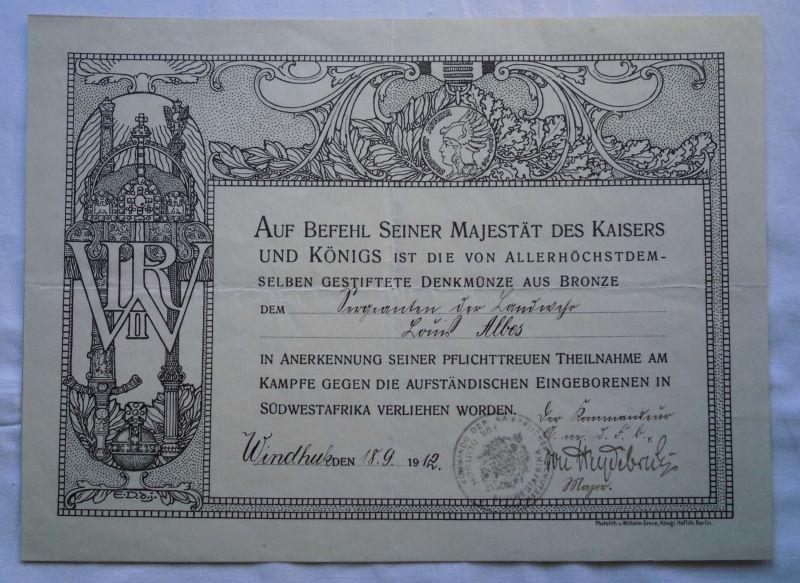 Seltene Urkunde für Sergeanten der deutschen Schutztruppe DSWA 1912 (123579)
