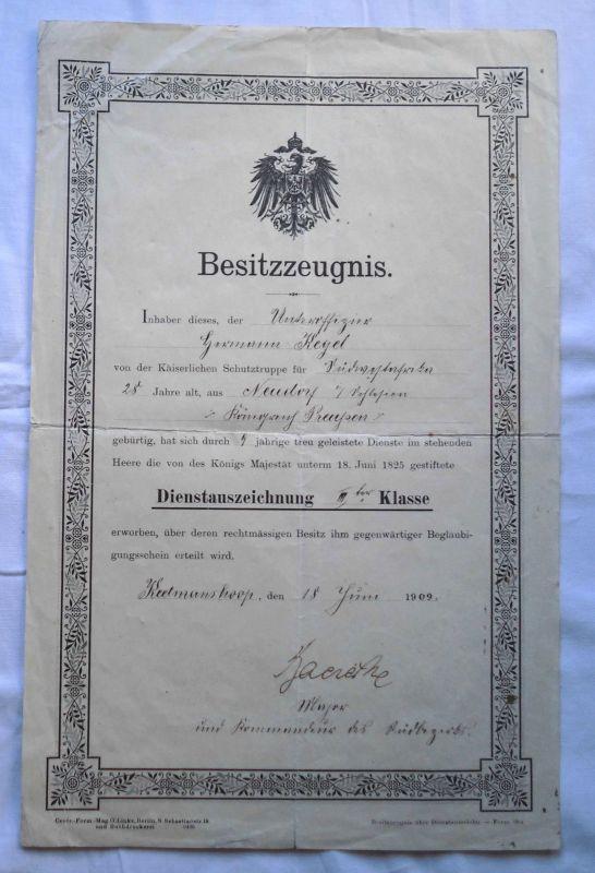 Seltene Urkunde für Unteroffizier der deutschen Schutztruppe DSWA 1909 (123500)