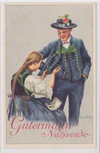 68136 Reklame AK Gütermann's Nähseide - Dame flickt Jacket eines Herren um 1940