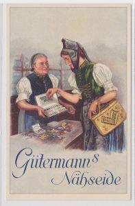 68212 Reklame AK Gütermann's Nähseide - Arbeiterin sucht Garn aus um 1940