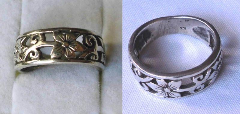 Verspielter 925er Sterling Silber Ring Schmuckring Blumen Verzierung (123585)